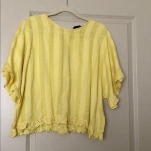 Zara yellow striped blouse